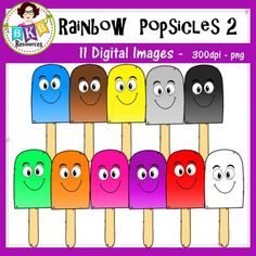 Rainbow Popsicles - Clip art! 11 digital images, high resolution, 300 dpi. Commercial use allowed. Great for creating color identification and pattern activities.BKB Resources | Teachers Pay Teachers