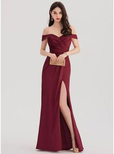 Sheath/Column Off-the-Shoulder Floor-Length Satin Prom Dress With Ruffle Split F. - Sheath/Column Off-the-Shoulder Floor-Length Satin Prom Dress With Ruffle Split Front – Prom Dresses – JJsHouse Source by torivan - Grad Dresses, Homecoming Dresses, Split Prom Dresses, Chiffon Evening Dresses, Strapless Dress Formal, Formal Gowns, Elegant Dresses, Beautiful Dresses, Occasion Dresses
