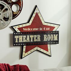 With a star design and stunning typography, our Welcome to our Theater Room Wooden Plaque is sure to give your media room show stopping style! Movie Theater Decor, Home Theater Setup, Home Theater Seating, Home Theater Design, Home Cinema Room, Home Theater Rooms, Movie Themed Rooms, Movie Rooms, Tv Rooms