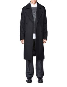 Diger coat-Men's classic long coat in wool-blend with melton structure. Concealed button fastening at front. Two flap pockets. Single back vent. Fully lined. Wool Blend, Duster Coat, Men's Outerwear, Jackets, Button, Classic, Fit, Fashion, Down Jackets