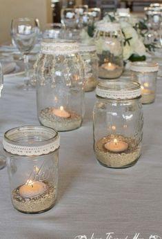 Flowers by Cabo Floral Studio! Mason Jar Centerpieces, Wedding Centerpieces, Wedding Table, Wedding Decorations, Table Decorations, Mason Jar Crafts, Bottle Crafts, Mason Jars, Vasos Vintage