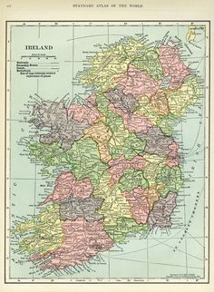 Map of Ireland ~ Free Vintage Image