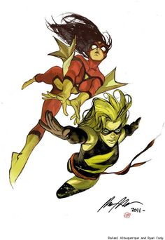 Spider Woman and Miss Marvel by *rafaelalbuquerqueart (colored)