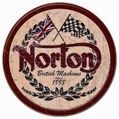 Norton Logo Sign is a brand new vintage tin sign made to look vintage, old, antique, retro. Purchase your vintage tin sign from the Vintage Sign Shack and save. Moto Norton, Norton Motorcycle, Motorcycle Logo, Motorcycle Posters, Bike Logo, Motorcycle Patches, Motorcycle Types, Motorcycle Garage, Vintage Posters