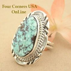 Elongated Dry Creek Turquoise Stone Ring Size 7 1/4 Thomas Francisco Four Corners USA OnLine Native American Indian Silver Jewelry NAR-1431