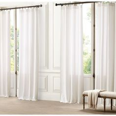 Alternating Sheer Stripe Drapery ($70) ❤ liked on Polyvore featuring home, home decor, window treatments, curtains, rooms, light filtering curtains, sheer window treatments, restoration hardware, restoration hardware drapery e rod pocket panels