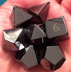 ENGRAVED Hematite Gemstone Polyhedral Dice Set: Hand Carved