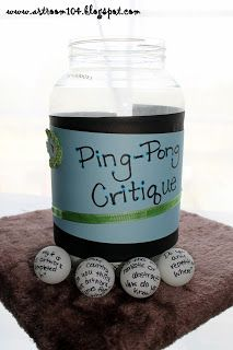 Ping-Pong Critique - a great and creative idea that invites students to critique text. The ping-pong balls have critique prompts written on them. This would be a great tool to have for students that aren't yet comfortable having these discussions. Middle School Art, Art School, School Stuff, School Ideas, Art Critique, High School Art Projects, Art Criticism, Bulletins, Professor
