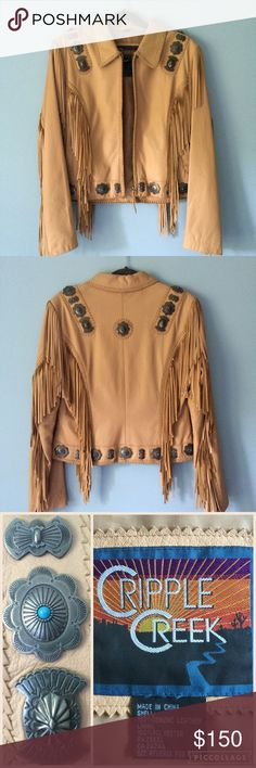 Cripple Creek Leather Jacket New This gorgeous Cripple Creek woman's embroidered fringe jacket is made with 100% genuine leather. Cascading fringe and studs adorn the front and back of jacket and hand laced leather accents the seams. Zip front closure and zip sleeves. New, never worn, NWOT ( purchased online, so it didn't come with tags ).The only flaw is tiny scratch on right sleeve ( last pic), not visible when jacket worn, I only noticed it when taking pictures. Love this jacket! 😊…
