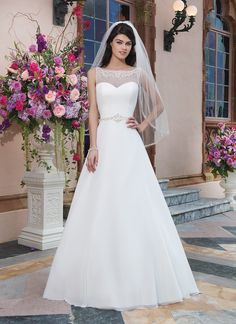 Sincerity brautkleid style 3827  Chiffon A-line dress embellished with a Sabrina neckline