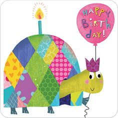"CODE: LS86 NAME: BIRTHDAY TORTOISE PRICE: £1.75 Buy now: https://www.phoenix-trading.co.uk/web/km43704/area/shop-online/category/children-and-teens/product/LS86/birthday-tortoise/ Presentation: Child-friendly, tortoise card with rounded corners. Die-cut, with a 100 gsm, 100% recycled envelope. Blank for your own message. Paper Type: Matt Textured Embossed Artist: Tracy Cottingham Size: 6 x 6"" : 152 x 152mm"