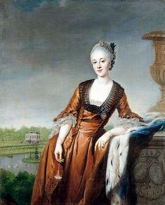 """Portrait of Marie Barbara Eleonore zu Schaumburg-Lippe"" by Johann Georg Ziesenis (c. 1765).  (Kaiser Friedrich-Museums, Berlin)"