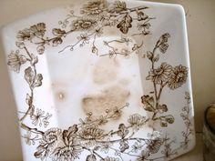 brown transferware dish