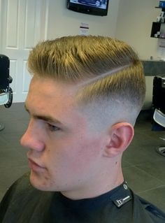 Haircut with sharp part