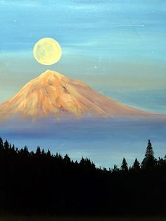 45 Beautiful Examples Of Acrylic Painting-scroll down for other ideas too Wine And Canvas, Mountain Paintings, Acrylic Art, Simple Acrylic Paintings, Pictures To Paint, Painting & Drawing, Moon Painting, Landscape Paintings, Watercolor Art