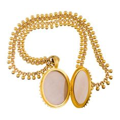 Very Fine Granulated Victorian Locket and Chain