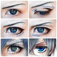 @Regrann from @inevelichka - Ciel Phantomhive Makeup Tutorial Lenses from…