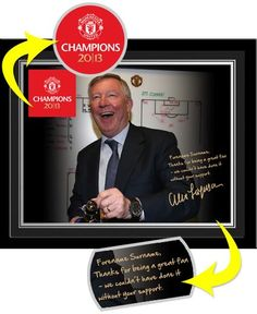 Celebrate Manchester United's record breaking 20th English league title win with our personalised Sir Alex Ferguson champions 20 photo. This wonderful high quality gloss photograph is the perfect memento for any Manchester United fan. Personalised with the recipient's Forename and Surname this product also features a message alongside a replica signature from Sir Alex Ferguson. Manchester United Gifts, Sir Alex Ferguson, Fathers Day Gifts, Personalized Gifts, Champion, The Unit, Celebrities, Photograph, English