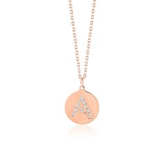 Made Simply Boutique's Round Necklace in Rose Gold, Letter A