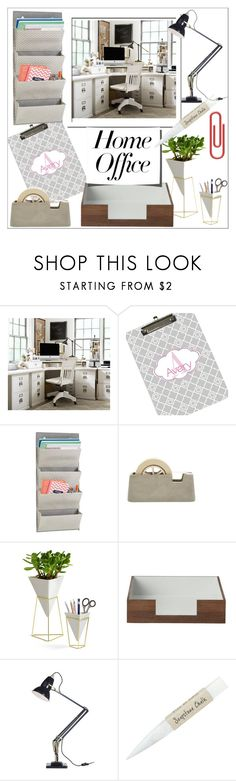 """Work Hard: Home Office"" by stylematters61 ❤ liked on Polyvore featuring interior, interiors, interior design, home, home decor, interior decorating, Pottery Barn, Areaware, Umbra and ferm LIVING"