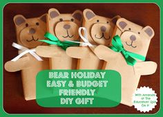 DIY Bear Holiday Bear Candybar Gifts.  This year, my kids made these for our neighbors, friends, and teachers.  The DIY holiday bear is budget friendly, cute, edible, and made with love!!!