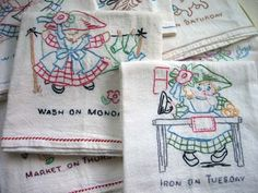 Embroidered dish towels.  Mom had several sets of these that she had made.  In fact I made myself some just this last year.      was fun to try my hand at embroidery again.
