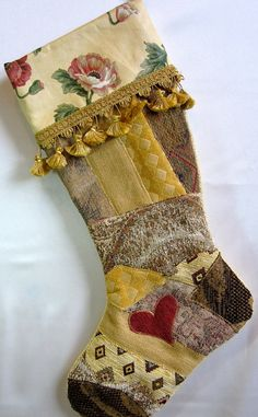 Christmas stocking tan and gold Victorian velvet crazy quilt patchwork with burgundy heart and fancy gold tassel trim Christmas Sewing, Victorian Christmas, Christmas Projects, Handmade Christmas, Christmas Ornaments, Christmas Ideas, Crazy Patchwork, Crazy Quilting, Stocking Tree