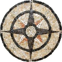 "Medallion Compass Rose Mosaic Pebbles - 48"" : Stone Mosaics 