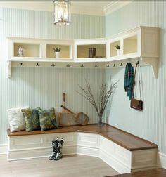 Mudroom.  Love the corner bench.