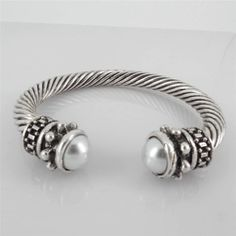 Chunky Silver Twisted Cable Faux Pearl Tip Cuff BRACELET Fashion Design Jewelry #Uniklook #banglecuff