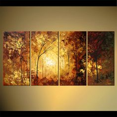 MADE-TO-ORDER painting - Landscape blooming trees Painting - Original Contemporary Modern Art by Osnat.    As this is a MADE-TO-ORDER painting, it will be as close as possible to the one you see here, that I have already sold    Time frame to create this painting is 5 business days.    Title: Precious Moments  Size: 60x30 (4x 15x30)  Acrylic on wrapped stretched canvas, palette knife A Certificate of Authenticity will be signed and provided.  The painting will be shipped directly from my…