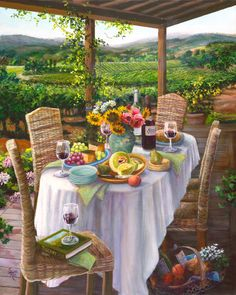 I would love be here, in my painting called Johansen Cellars, toasting my friends, and surrounded by the beautiful vineyards.