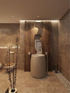 Wellness-Oase aus natürlichen Materialien und natürlichen Farben #freestandingbasin #bathroom #natural