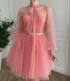 Pink Prom Dresses, Pretty Dresses, Pink Dress, Beautiful Dresses, Evening Dresses, Full Circle Skirts, Cute Casual Outfits, Dot Dress, Fashion Outfits