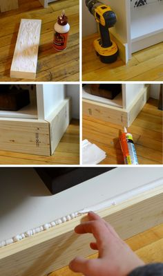 Add baseboard to shelving