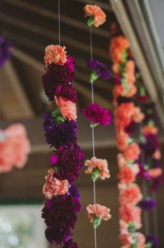 Lace and Lilies -hanging carnations, carnation garland, indian wedding, alter flowers