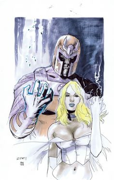 Magneto & White Queen by Clay Mann