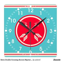 Retro Double Crossing Arrows Hipster Clock