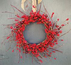 Couronne de Noël - Couronne d'hiver - Christmas wreath - Winter wreath - Red berries - Burlap ribbon