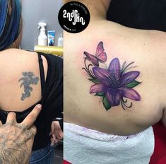 Cover Up – Tattoo - Modern Shoulder Cover Up Tattoos, Flower Cover Up Tattoos, Best Cover Up Tattoos, Floral Back Tattoos, Colorful Flower Tattoo, Shoulder Tattoos For Women, Cover Tattoo, Tribal Tattoos, Tattoos Skull