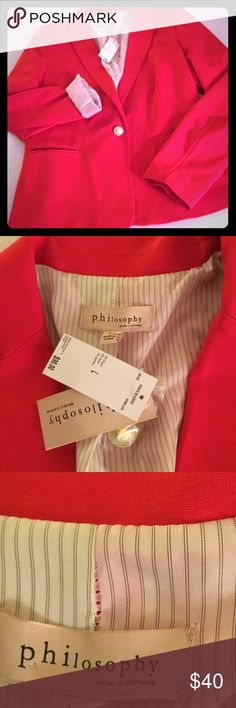 NWT Philosophy Red blazer jacket ladies women sz L Super cute classic red one button Philosophy jacket with pockets. 70% Rayon 25% nylon 5% spandex. Lining 100% polyester. Dry clean only. The lining has some pulling at the stitching please see pics for details. Price reduced for this reason. It has to go - please make an offer. Pet/smoke free home Philosophy Jackets & Coats Blazers
