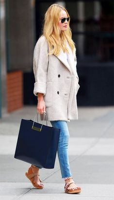 Kate Bosworth looks casual-yet-chic in a coat, jeans and flats. // #StreetStyle #Denim