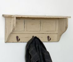 Reclaimed Wood Hall Shelf With 3 Hooks, Reclaimed & Natural Woods