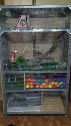 Well look at that...a cage made out of a inexpensive metal shelving unit and hardware cloth! Pet Rats, Ferret Toys, Chinchillas, Ferrets Care, Pet Ferret, Small Animal Cage, Rat Cage Diy, Pet Rat Cages, Hamster Cages
