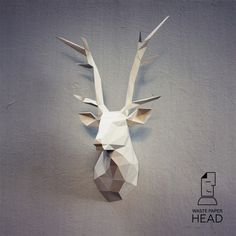 You can make your own deer head for wall decoration!  Printable DIY template (PDF) contains 13 pages. Use 160-240 g/m2 colored paper. Sizes of the head - 70 cm (A4) or 100 cm (A3). I would rather recommend using A3. If you need another size of finished sculpture, just change print scale and size of paper.  Check out our tutorials on youtube.com/channel/UCTO0rWB3sQv161fWv0yG79Q. More photos on www.behance.net/alisa_slonishyna and instagram.com/explore/tags/wa...