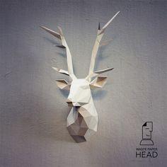Papercraft deer head - printable DIY template