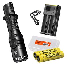 Nitecore EC4GT 1000 Lumens 519 Yards LED Flashlight  w// 2x 18650s /& Charger
