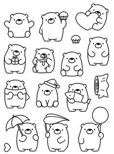 Cute Drawings: Bears, teddy bears and pandas Cute Easy Drawings, Kawaii Drawings, Doodle Drawings, Animal Drawings, Simple Doodles, Cute Doodles, Doodles Bonitos, Bullet Journal Ideas, Cute Doodle Art