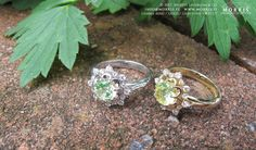 Vintage Inspired Engagement Ring Apple Green Spinel Diamond