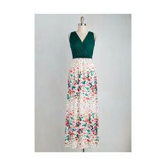 Long Sleeveless A-line Adore County Dress ($70) ❤ liked on Polyvore featuring dresses, apparel, fashion dress, multi, print maxi dress, green a line dress, long green dress, floral print maxi dress and maxi dresses